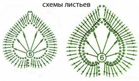 схемы вязания листиков
