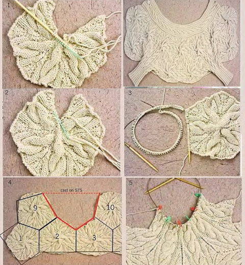 Оригинальное вязаное звездное болеро