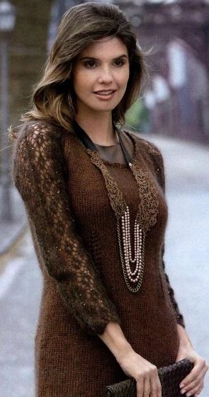 Мини-платье с ажурными рукавами
