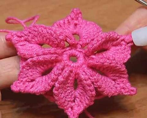 объемный цветок с шестью лепестками