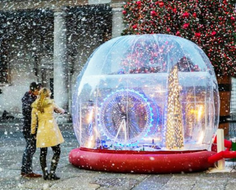 Креативное Рождество: гигантский снежный шар из LEGO