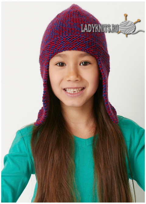 Вязаная шапка-ушанка от Bernat