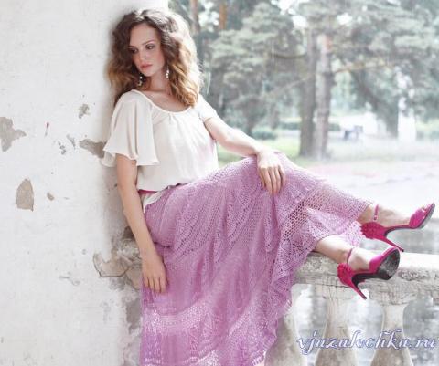 Длинная и пышная юбка крючком