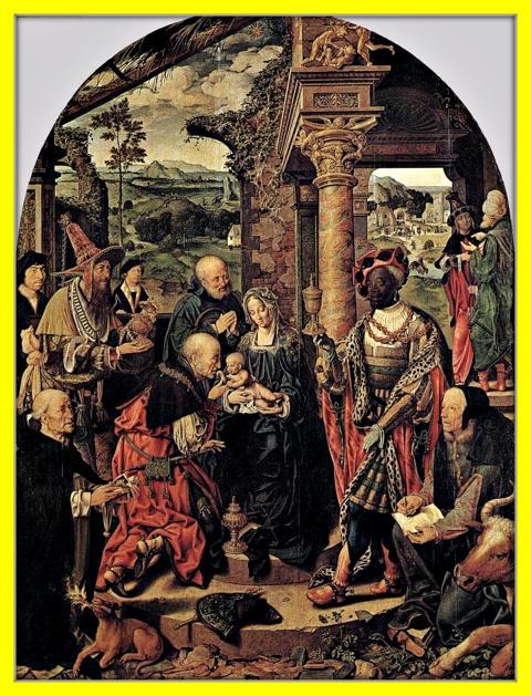 Большое поклонение волхвов со св. Домиником и св. Лукой