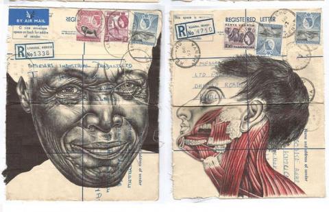 Невероятные портреты шариковой ручкой, или о чём молчат старые конверты, карты и документ