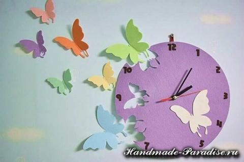 Часы с бабочками из фетра. МК