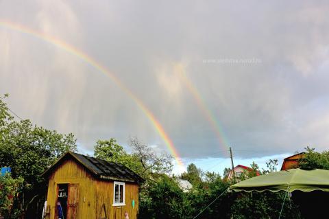 две радуги, двойная радуга, 2 радуги, в небе две радуги, sredstva
