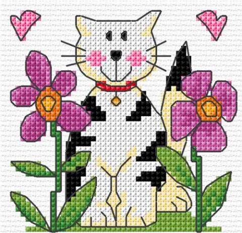 вышивка с кошкой