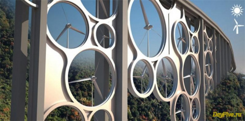 Ветровые турбины, интегрированные в мосты