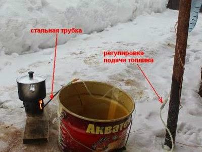 Способ кипячения воды на бензине
