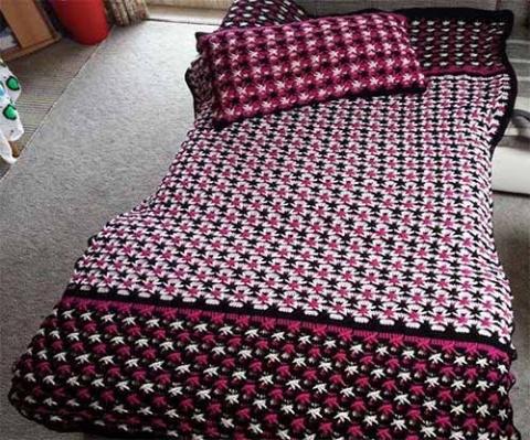покрывало и подушка узором польская звезда