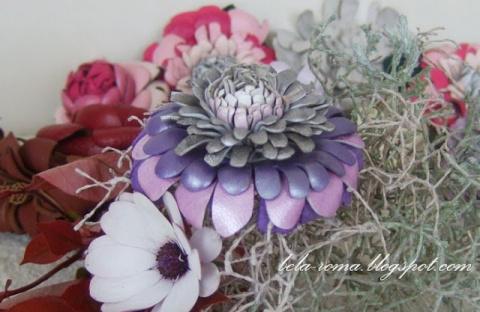 Хризантемы - Цветы из кожи