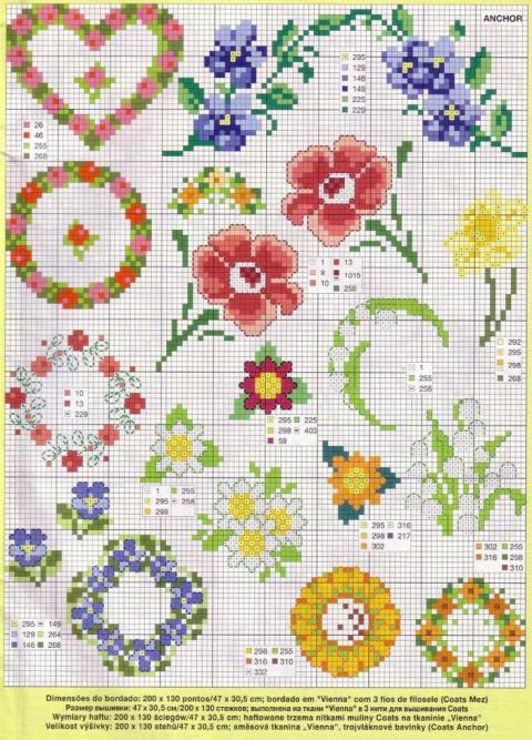Вышивка крестом — маленькие цветы для бордюров любой сложности (схемы)