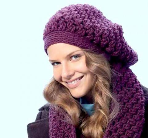 объемный берет и шарф-хомут