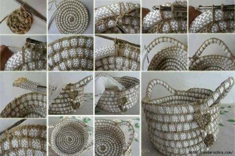 Вязание симпатичной корзинки из шнура и джутового шпагата