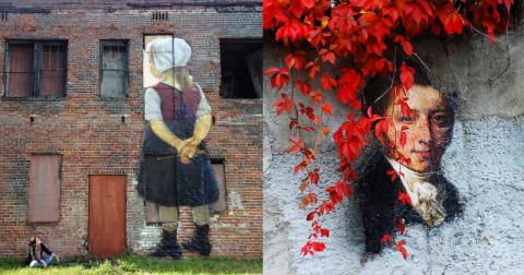 Картины, перенесенные из музеев на улицу