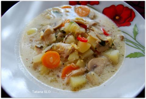 Суп из шампиньонов с щавелем