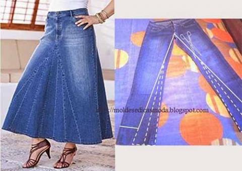 Как выкроить юбку из джинсов