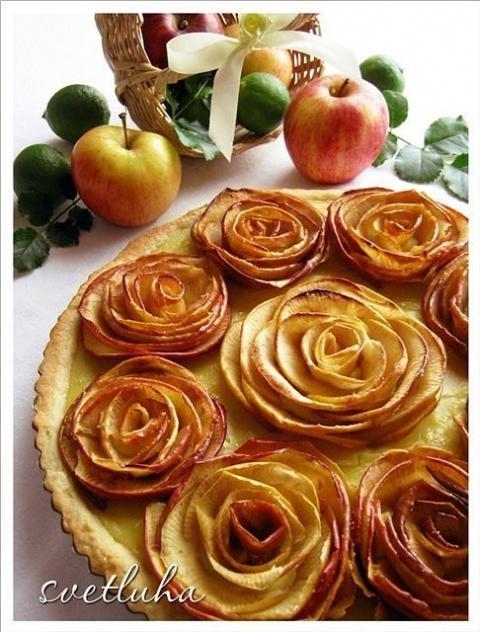 """Песочный пирог """"Яблочные розы"""