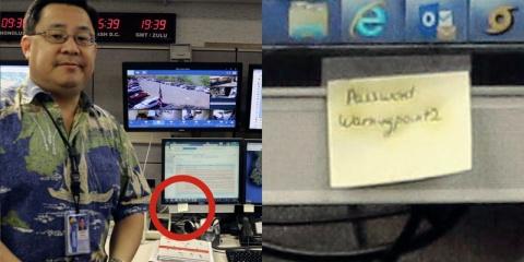 Служба, поднявшая неверную тревогу на Гавайях, хранила пароль на стикере
