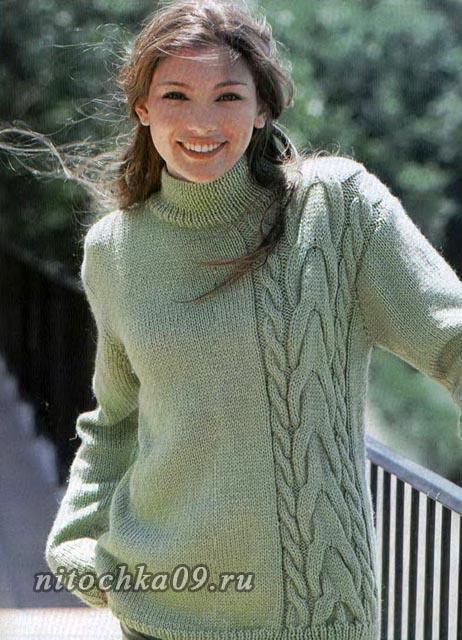 Пуловер с асимметричной косой