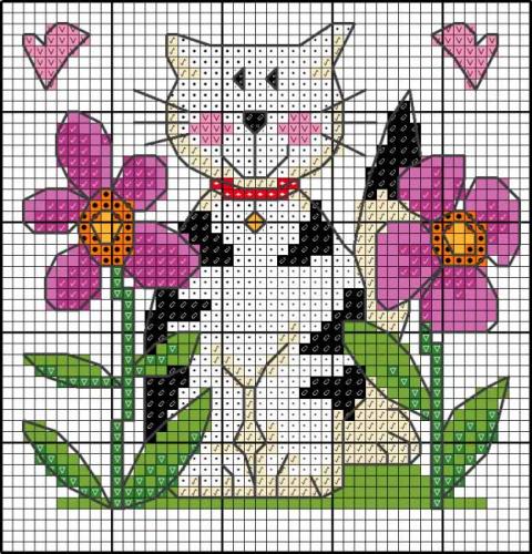 схема вышивки кошка в цветах