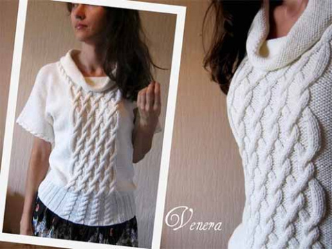 оригинальный пуловер с коротким рукавом