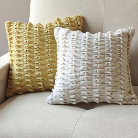 Оригинальная плетеная подушка. МК