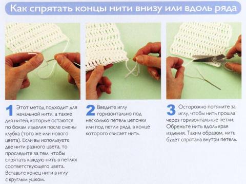 Как спрятать концы нитей
