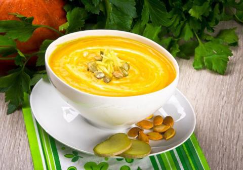 Рецепт: Суп-пюре из тыквы с имбирем
