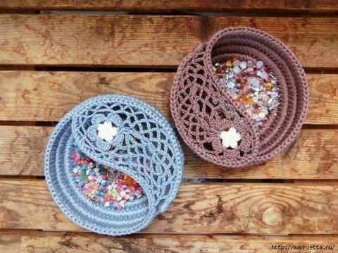 Оригинальные вазочки из веревки