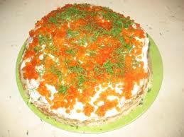 Блинный торт с семгой на 8 марта