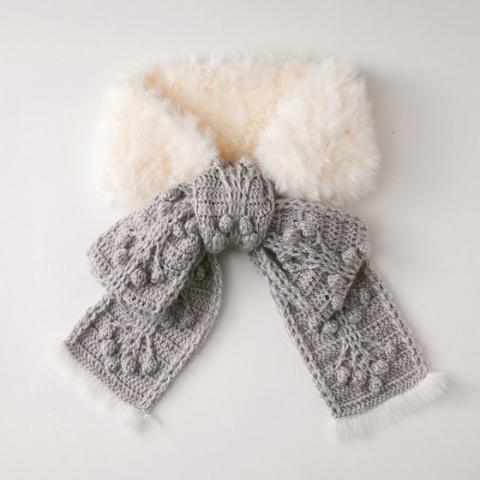 Вязано-меховой шарфик. Схема