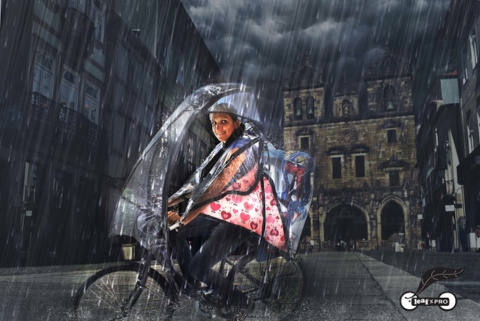 Аэродинамический зонтик для велосипеда