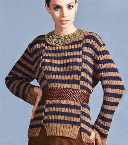 Стильный полосатый пуловер