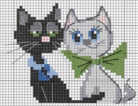 Котейки - схемы вышивки котиков