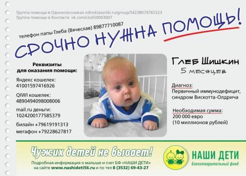 Поможем малышу Шишкин Глеб
