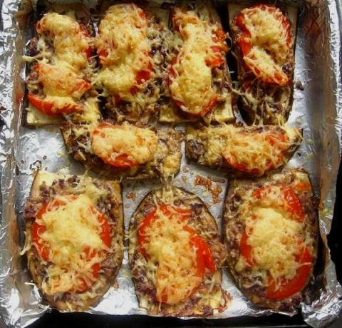 Язычки из баклажанов с грибами запечённые в духовке!