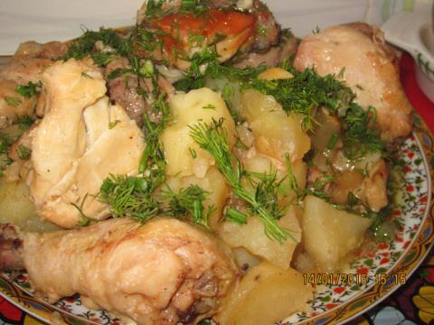 Фантастическая курица тушеная с картошкой  в банке