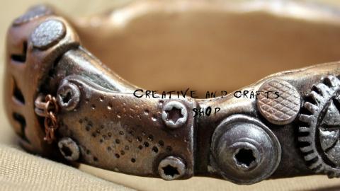 Браслет в стиле Стимпанк из полимерной глины. Мастер класс