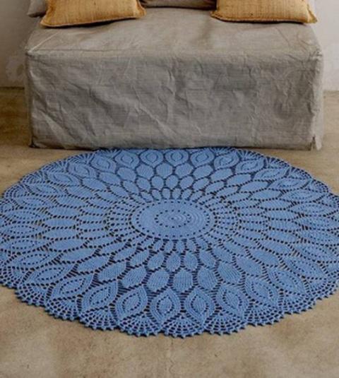 Красивый круглый коврик крючком. Схема