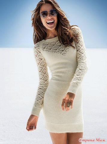 Красивое платье с ажурными вставками