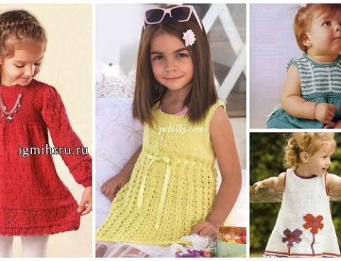 Платье для девочки спицами (в подборке 21 модель)