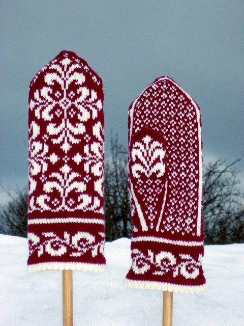 Красивые варежки в русском стиле. Схема