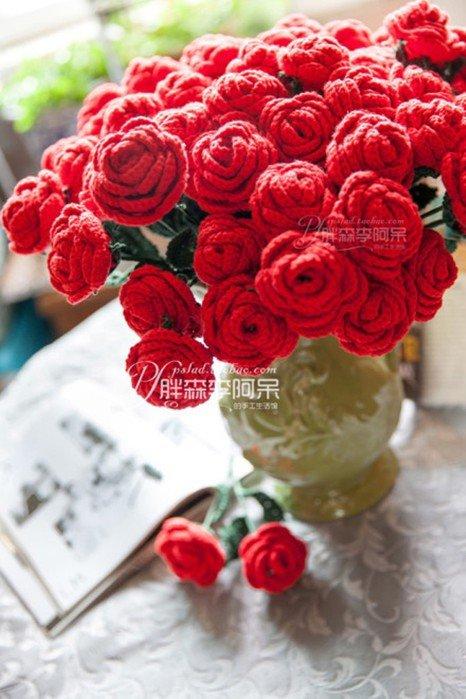 Цветок крючком - букет роз