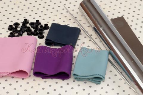 материалы для лепки, полимерная глина, нож, люверсы.