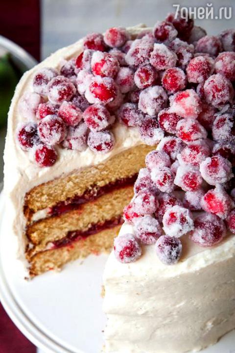 Ванильный торт с клюквой в л…