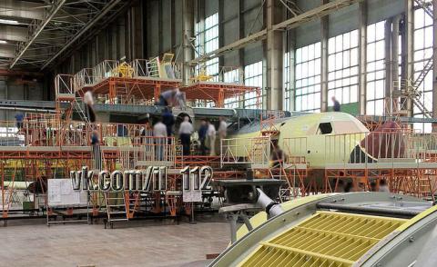 Сборка первого прототипа военно-транспортного самолёта Ил-112 на ПАО ВАСО