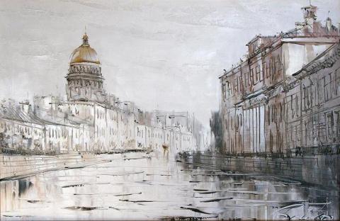 В городе дождь, художник Евгений Бойко