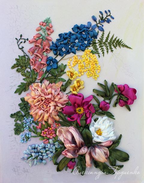 Картины,вышитые лентами, от Александры Гордиенко.
